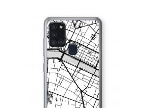 Zet een stadskaart op je  Galaxy A21s hoesje